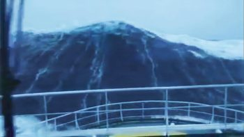 100 Foot Tall Wave Slams Ship