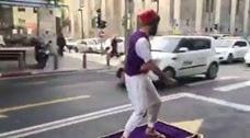 Aladdin Skateboarding On Magic Carpet In Tel Aviv