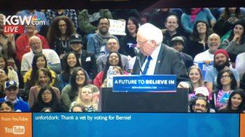 Bird Lands On Bernie Sanders' Podium During Speech