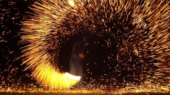 Spiral Catherine Wheel Fireworks In Slow Motion