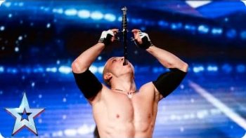 Crazy Guy Swallows Sword And Performs Acrobatics On Britain's Got Talent