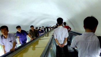 Escalator Descending Down Int Pyongyang's Subway Is Eerie