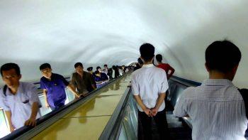 Escalator Descending Down Int Pyongyang's Subway Is Eerie