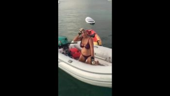 Grandma Demonstrates How To Get Into A Small Dinghy Boat