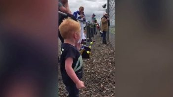 Boy goes mental at motorbike race
