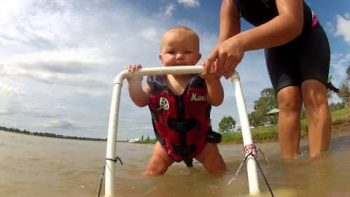 Baby Learns To Water Ski