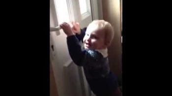 Baby Standing By Door Is Knocked Over By Incoming Mail