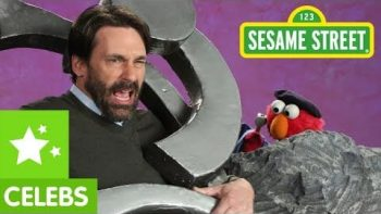 Jon Hamm With Elmo On Sesame Street