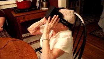 Grandmother Tries Oculus Rift Virtual Reality Helmet