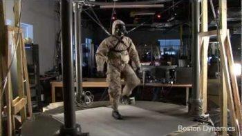 Petman Humanoid Robot Walks On Treadmill Wearing Protective Suit