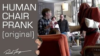 Human Chair Prank At Coffee Shop