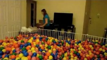 Young Couple Builds Ball Pit In Their Small Manhattan Apartment Living Room