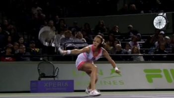 Agnieszka Radwanska Around The Back Trick Shot At 2013 Sony Open Tennis Competition