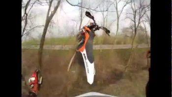 POV Flying Through The Air Dirt Bike Crash