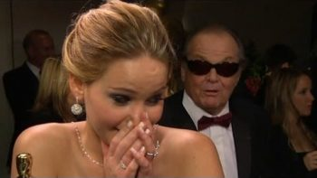 Jack Nicholson Interrupts Jennifer Lawrence's Post-Oscar Interview