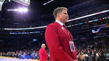Will Ferrell As A Red Coat Security Guard At The Staples Center