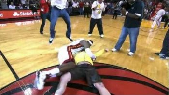 Miami Heat Fan Scores $75,000 Half Court Hook Shot, Gets Tackled By LeBron James