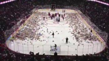 25,000 Teddy Bear Toss At Junior Hockey Game