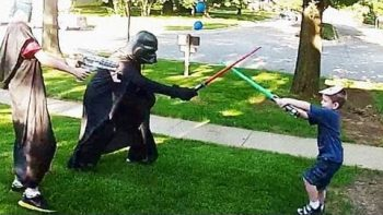 Navy Sailor Dressed As Darth Vader Surprises His Son At Star Wars Birthday Party