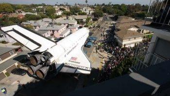 Space Shuttle Endeavour Travelling Through LA Time Lapse