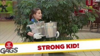 Strong Girl Picks Up Heavy Buckets Prank