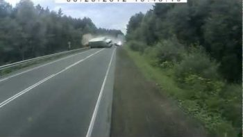 Dramatic Tractor Trailer Truck Crash On Russian Highway Ends In Explosion