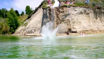 Huge 40 Foot Slip N Slide Off Cliff