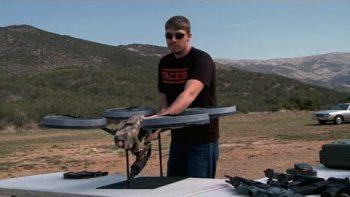 Prototype Flying Quadrotor With Machine Gun