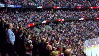 Measha Brueggergosman Sings American And Canadian National Anthems At Hockey Game