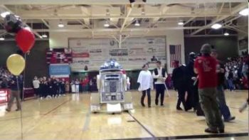Boy With Cancer Drives R2-D2 Go Kart Built By Make-A-Wish Foundation At School Pep Rally