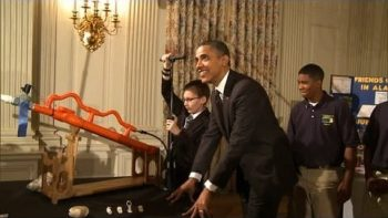 President Obama Fires Marshmallow Cannon At White House Science Fair