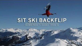 Disabled Skier On Sit Ski Performs Backflip