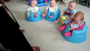 Great Uncle Plays Guitar For New Baby Quadruplets