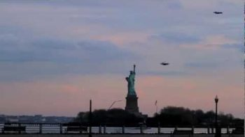 Human Shaped Remote Control Airplanes Flown Over New York City