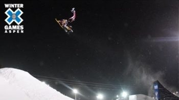 Extreme Snowmobiler Falls During Jump Stunt