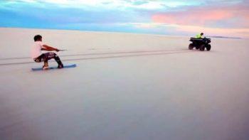Snow Boarding On Salt Flats