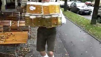 German Beer Server Drops Huge Tray Of Beers