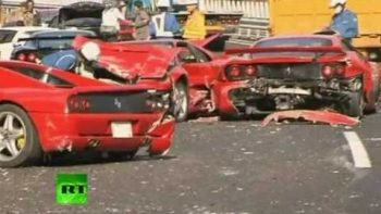 Eight Ferraris Crash In Most Expensive Supercar Pileup Wreck
