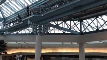 Santa Gets Stuck Repelling Down Second Floor At Mall