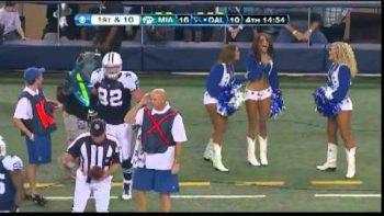 Dallas Cowboy Tackles Cheerleader