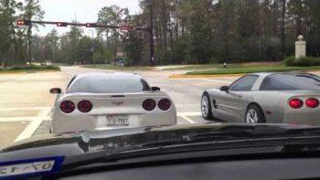 Two Corvettes Crash While Drag Racing