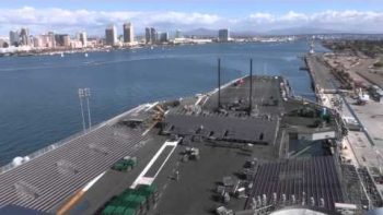 US Navy Builds Basketball Stadium On Aircraft Carrier Time Lapse