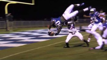High School Football Amazing Five Yard Touchdown Dive
