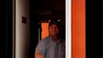 Co-Worker Puts Clear Tape Between Door Post To Prank Friend