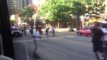 Skateboarders Shut Down Busy Austin Texas Street