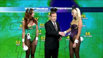 Playboy Bunnies Surprise Weatherman During Report