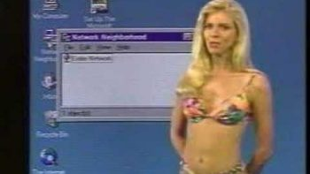 90's Bikini Babe Gives Windows 95 Tutorial