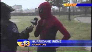 Spiderman Interviewed At The Beach During Hurricane Irene