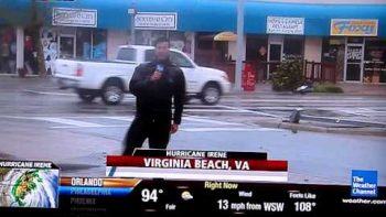 Weather Channel Reporter Upset By Streakers Out During Hurricane
