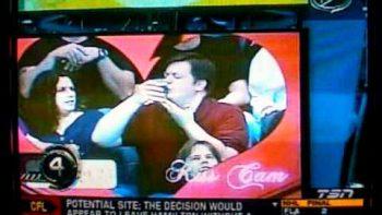 Man Kisses Beer At Basketball Game 'Kiss cam'